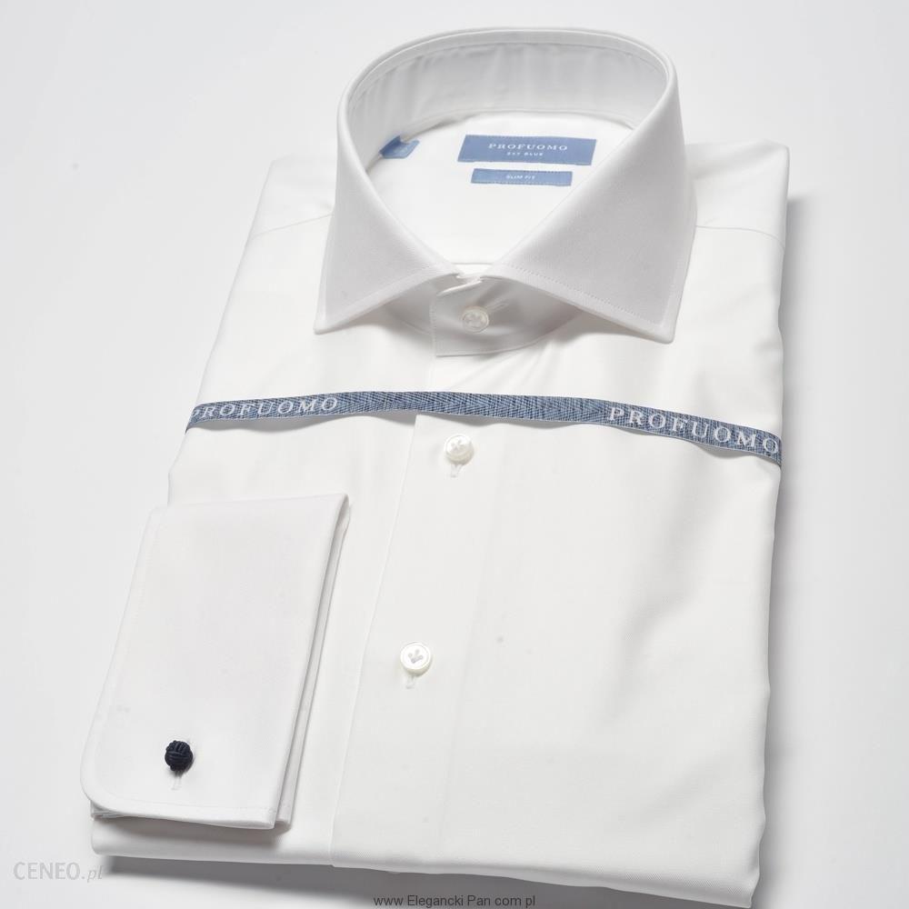 2117c4e0 Elegancka biała koszula męska taliowana (SLIM FIT) z włoskim kołnierzykiem  i mankietami na spinki 39 - Ceny i opinie - Ceneo.pl