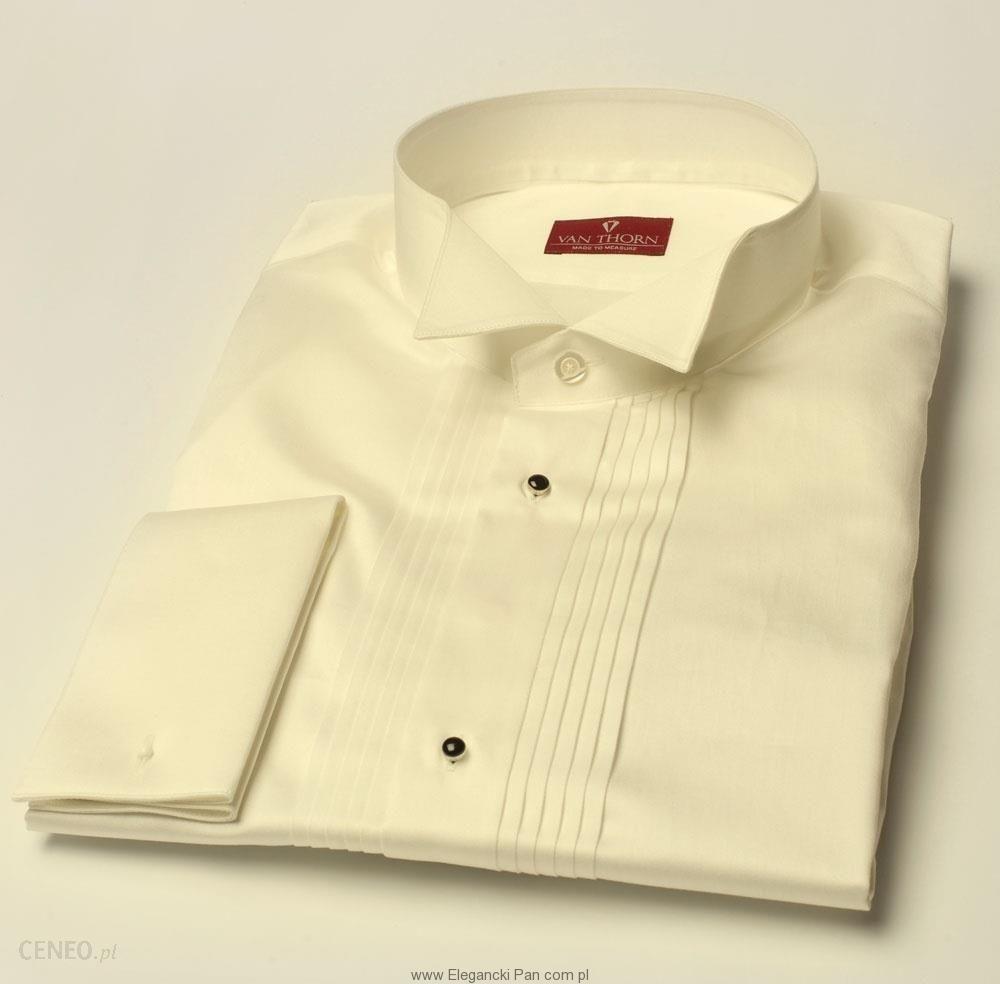 Elegancka śmietankowa (ecru) koszula smokingowa NORMAL FIT  5Va2l