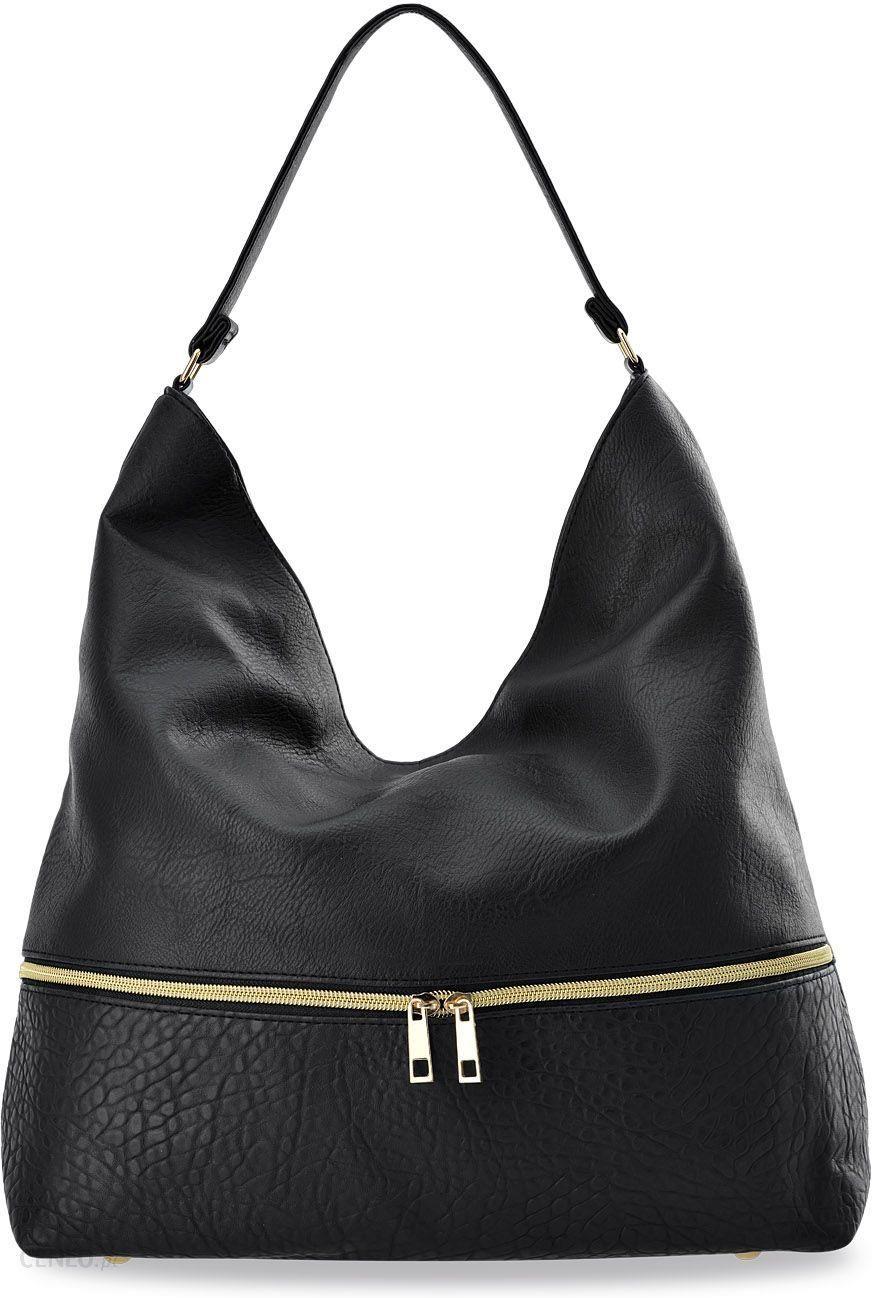 Pojemna torebka damska duża shopperka worek torba na ramię z ozdobnym zamkiem czarny