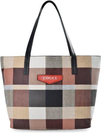 0428ba298fbb6 Zakupowa torebka damska duża shopperka a4 torba na ramię tote bag w kratę -  beżowy
