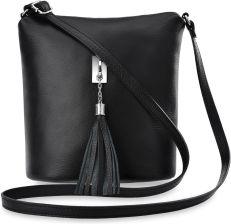 71cc063f272d2 Włoska listonoszka skórzana torebka damska przewieszka z puklem frędzli -  czarny