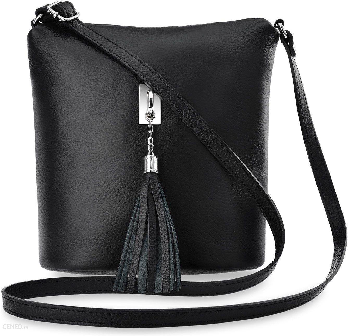 2e6fc4a122314 Włoska listonoszka skórzana torebka damska przewieszka z puklem frędzli -  czarny - zdjęcie 1