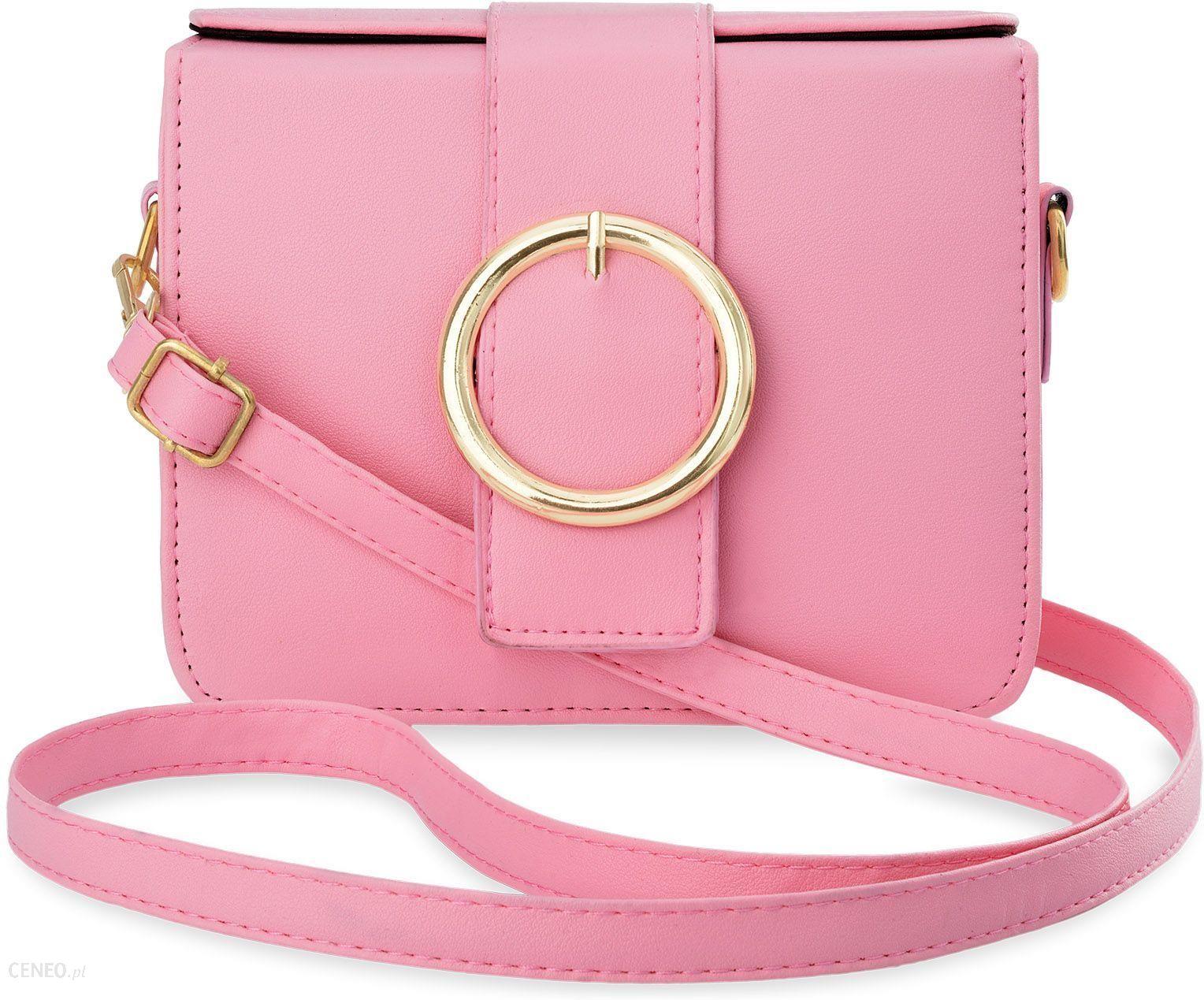 9b877f6f7e394 Elegancka torebka damska listonoszka przewieszka kuferek z ozdobną klamrą -  różowy - zdjęcie 1