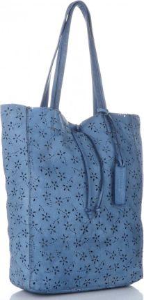 52044a78136e8 Włoskie Torebki Skórzane Ażurowany Shopper w stylu Vintage firmy Vittoria  Gotti wykonany z wysokiej jakości skóry ...