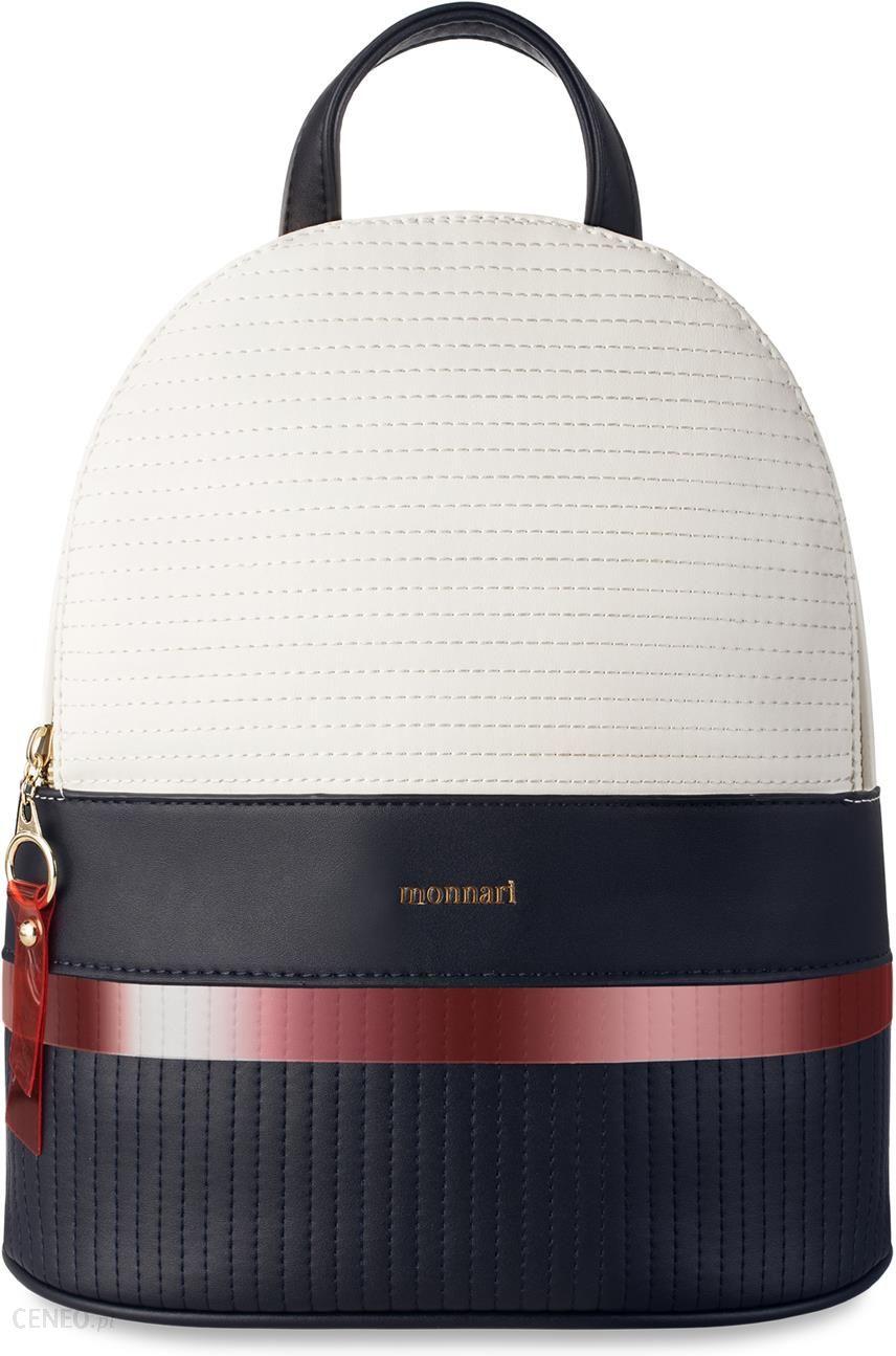 a3db31cb60d5b Plecaczek damski monnari pikowany plecak miejski w marynarskim stylu -  kremowo-granatowy - zdjęcie 1