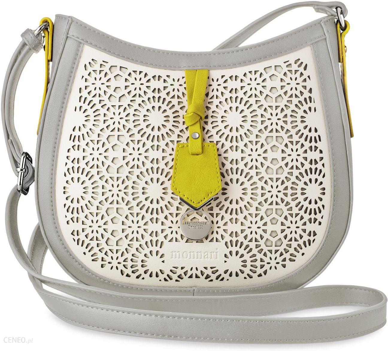 6902897ed767b Ażurowa listonoszka raportówka monnari oryginalna torebka damska z  kolorowymi wstawkami - szaro-biało-żółty
