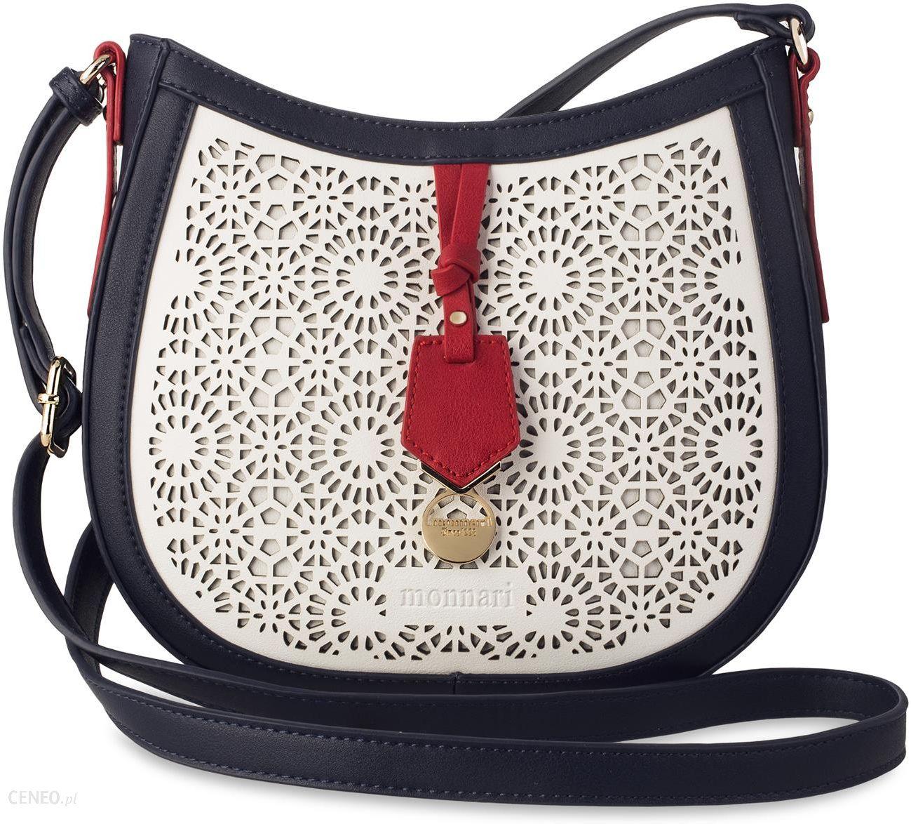 0e0ddf68809a9 Ażurowa listonoszka raportówka monnari oryginalna torebka damska z  kolorowymi wstawkami - granatowo-biało-czerwony