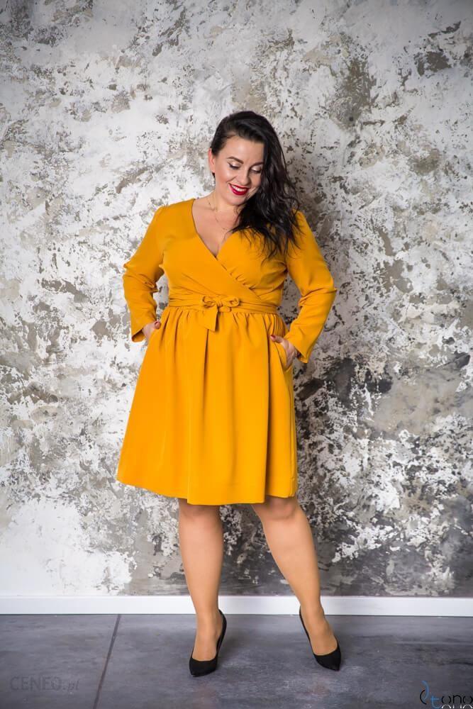 Zolta Sukienka Makan Kopertowa Plus Size Zolty Ceny I Opinie Ceneo Pl