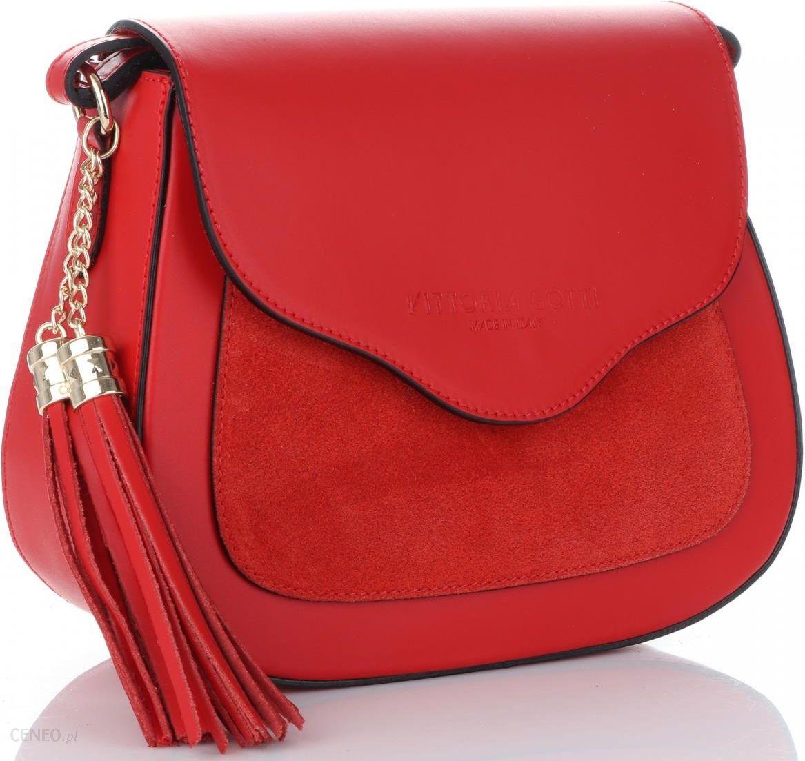 0b7f0adb1717c Vittoria Gotti Włoskie Torebki Skórzane Listonoszki Czerwone (kolory) -  zdjęcie 1