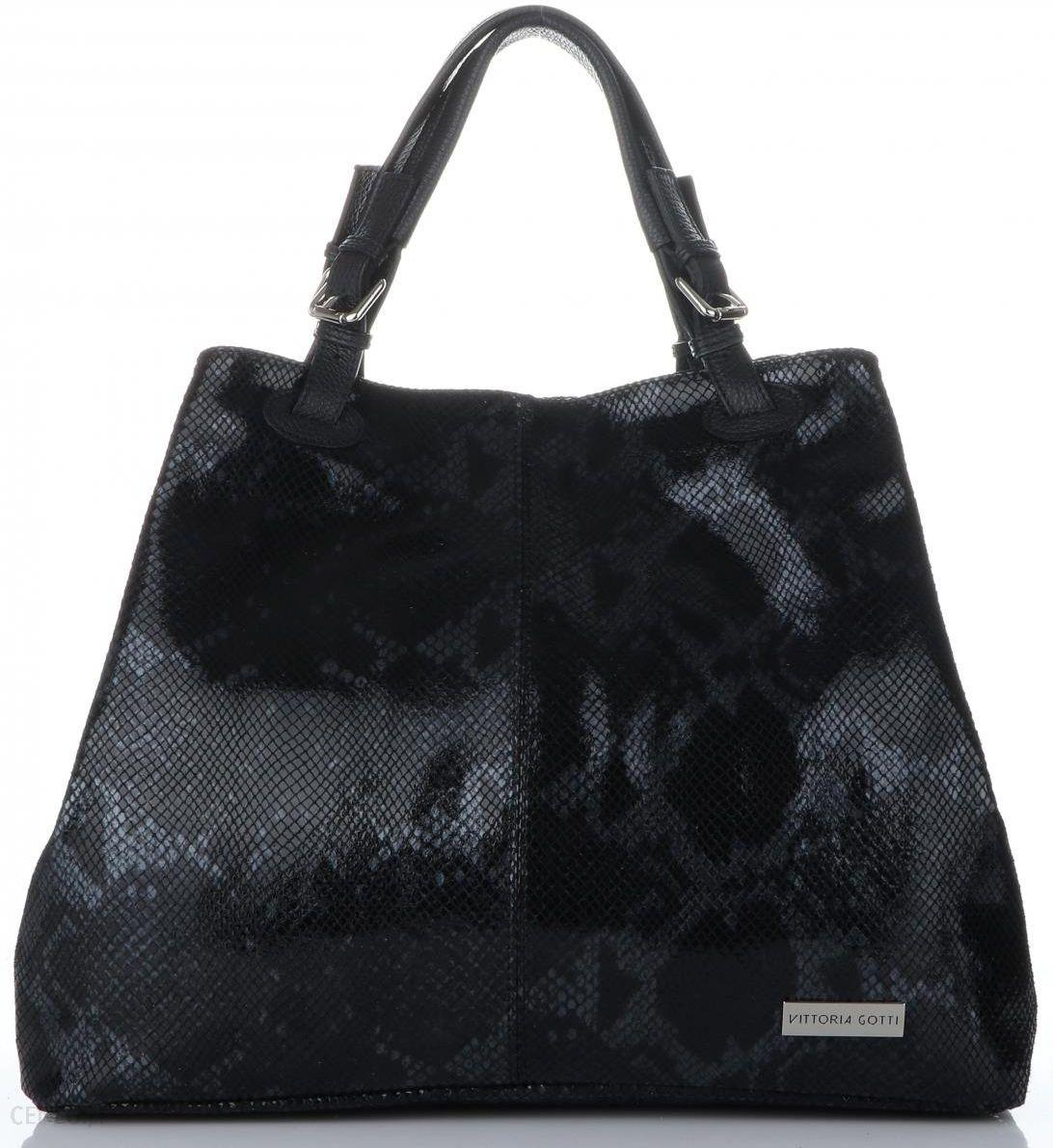 bbdcce12fe8650 Vittoria Gotti Ekskluzywne Torebki Skórzane Włoski Shopper w rozmiarze XL  motyw węża Czarna (kolory)