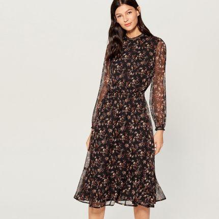 f7dbef959d Mohito - Szyfonowa sukienka w kwiaty - Czarny Mohito