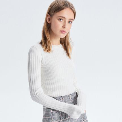 8e1f7f170542 Cropp - Prążkowany sweter - Biały ...
