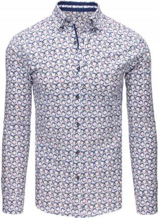 73e79c98175a8c Biała koszula męska w kratę z długim rękawem (dx1299) - Ceny i ...