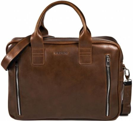 61650cf41e7f2 BRØDRENE R02 Męska torba skórzana na laptopa - jasny brąz