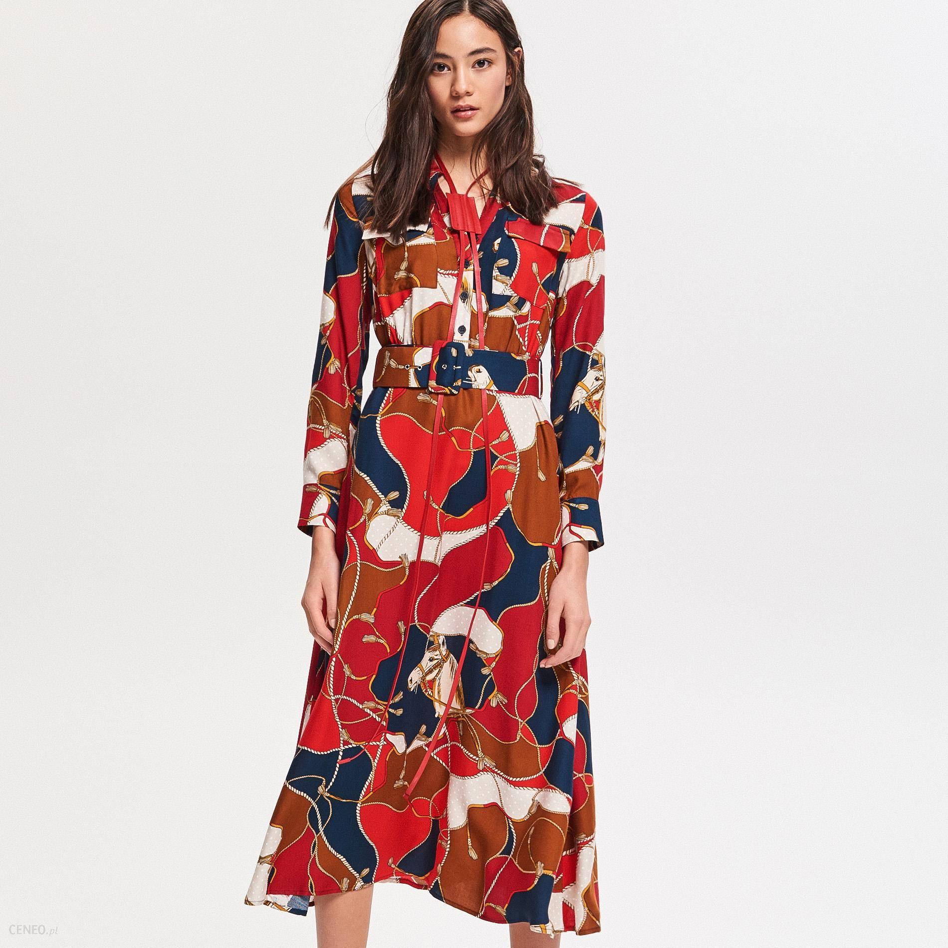 8636459ad6e6da Reserved - Wzorzysta sukienka z wiskozy - Wielobarwn - Ceny i opinie ...
