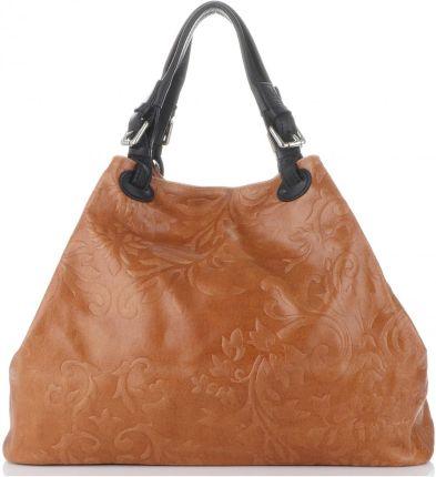 Uniwersalne Włoskie Torebki Skórzane Duży ShopperBag z tłoczeniami w kwiaty  firmy Genuine Leather Rude (kolory ... c55d4323136