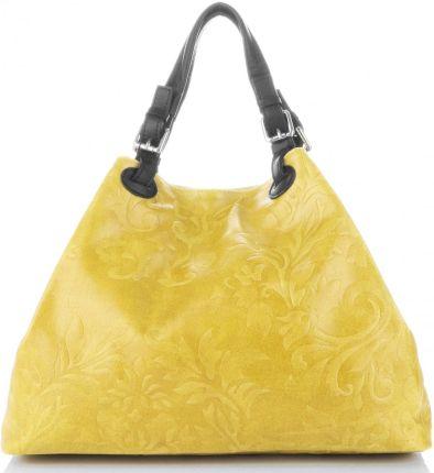 972f8a22ea443 Oryginalna Włoska Torebka Skórzana typu ShopperBag z tłoczeniami kwiatów  marki Genuine Leather Żółte ...