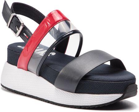 8ea367de619 Sandały TOMMY JEANS - Transparent Rwb Hybrid Sandal EN0EN00443 Rwb 020  eobuwie