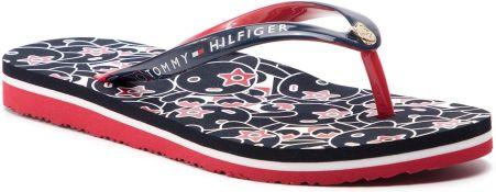 3b8744a22f2e9 Japonki TOMMY HILFIGER - Flat Beach Sandal Mascotte Print FW0FW03879 Rwb 020  eobuwie