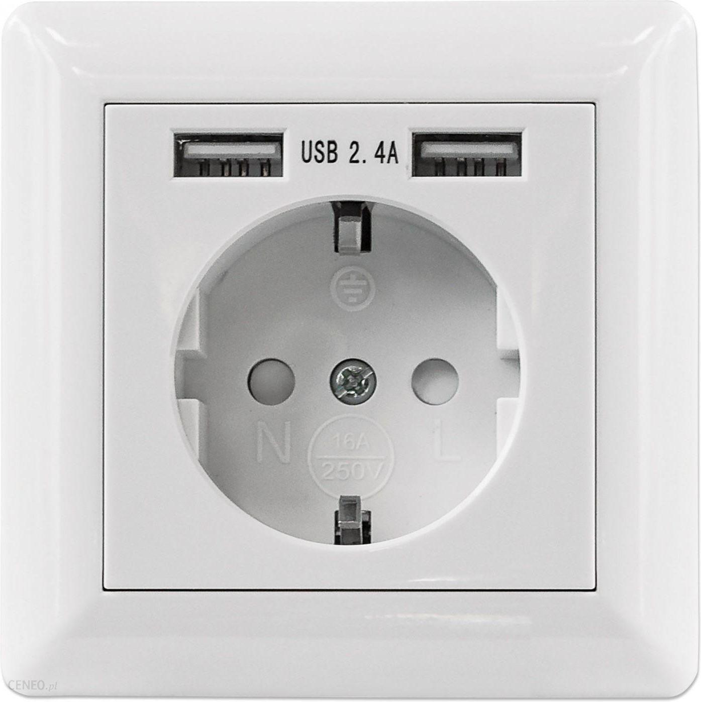 Gniazdo Elektryczne Intellinet Podtynkowe Gniazdko Elektryczne 2x Usb A 772174 Opinie I Ceny Na Ceneo Pl