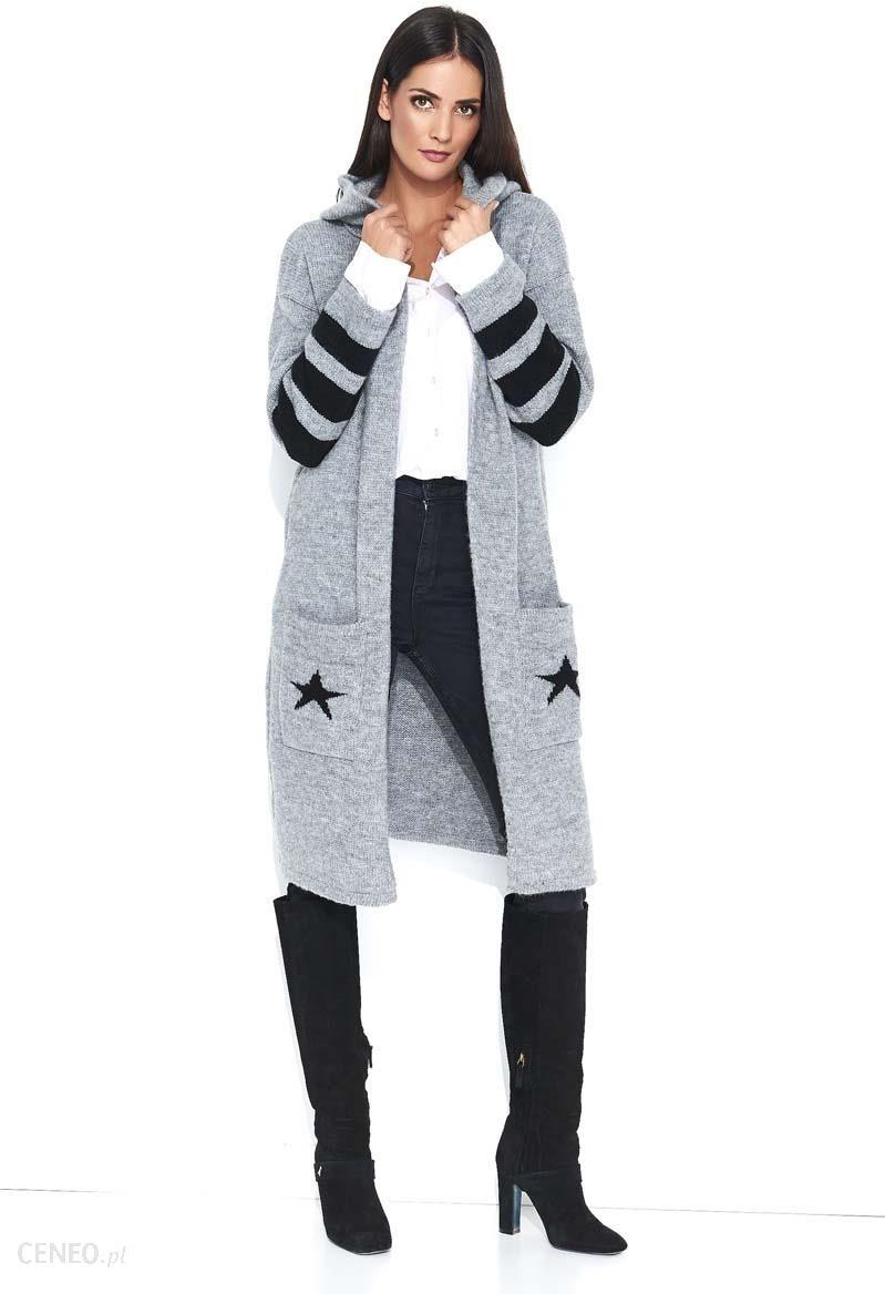 fb8caca5484e92 Makadamia Szary Dwukolorowy Długi Sweter z Kapturem z Napisem NUMINOU -  zdjęcie 1