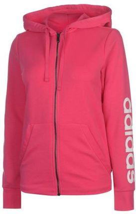 fe8919c11 Adidas Linear, bluza damska z kapturem na zamek, różowa, Rozmiar M