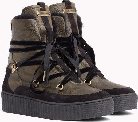 d80992f9 Tommy Hilfiger khaki buty skórzane Cozy Warmlined Leath z futerkiem - 42