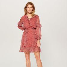 75afe3aa920f1f Mohito - Szyfonowa sukienka z falbankami - Czerwony