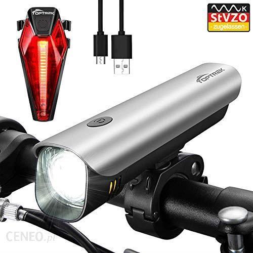 Amazon Toptrek światło Rowerowe Stvzo Dopuszczony Akumulator światła Rowerowe Usb ładowane Led Oświetlenie Rowerowe Zestaw Samsung Bateria Litowo Jono