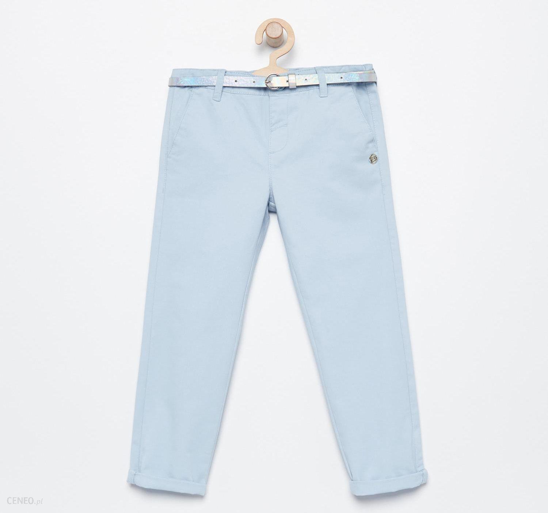 Reserved Spodnie chino z paskiem Niebieski Ceny i opinie Ceneo.pl