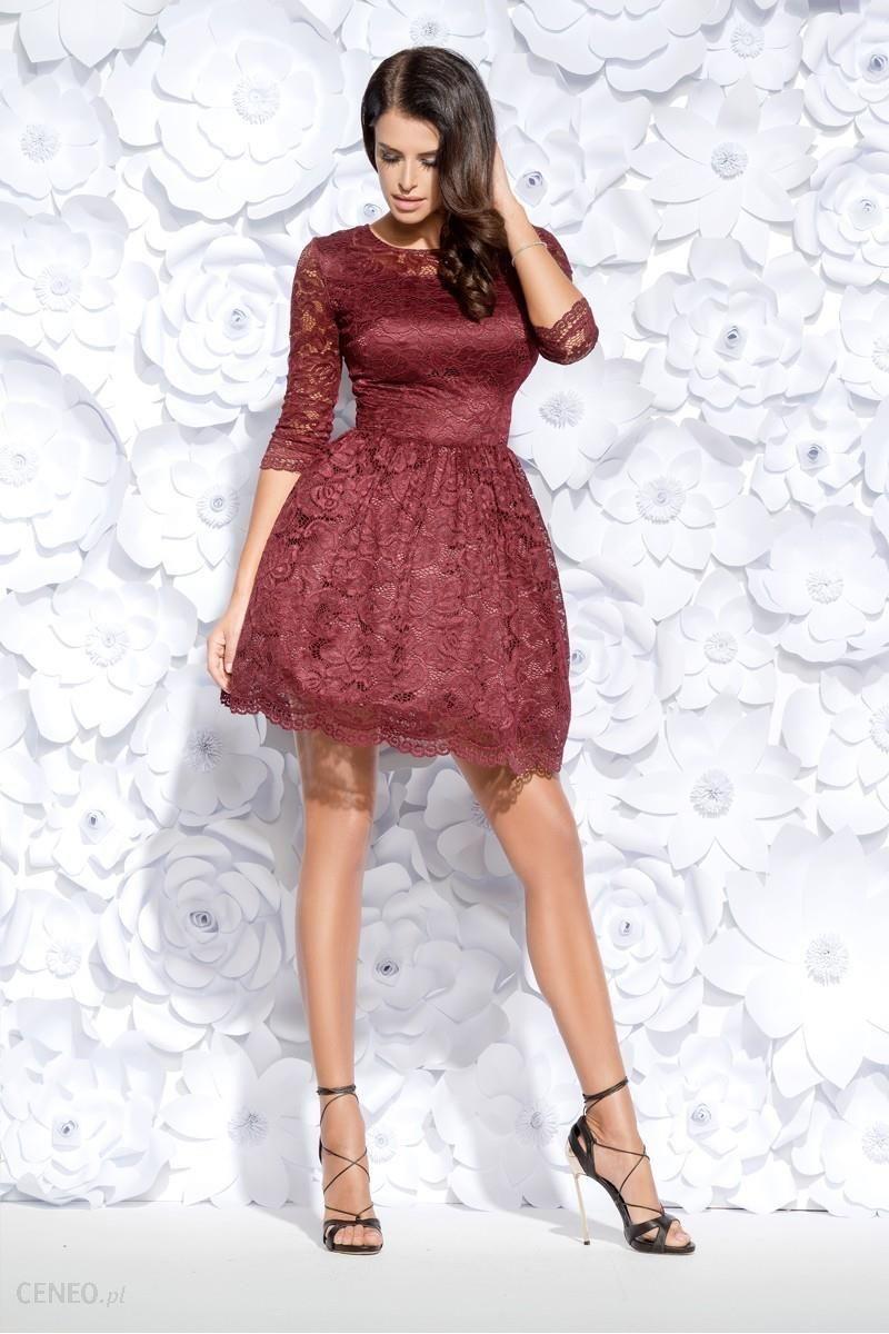 5d27cf7ecb Bicotone Rozkloszowana sukienka pokryta koronką - bordowa