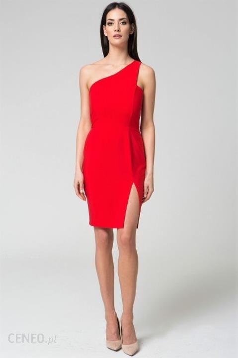 8dd095c7f4 Elegancka sukienka koktajlowa na jedno ramię S Czerwony - Ceny i ...
