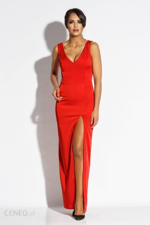 3895eca872 Długa sukienka z rozporkiem i łańcuszkiem na plecach L Czerwony - zdjęcie 1