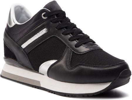 7e7f774b4737f Sneakersy TOMMY HILFIGER - Glitter Textile Wedge Sneaker FW0FW03893 Black  990 eobuwie