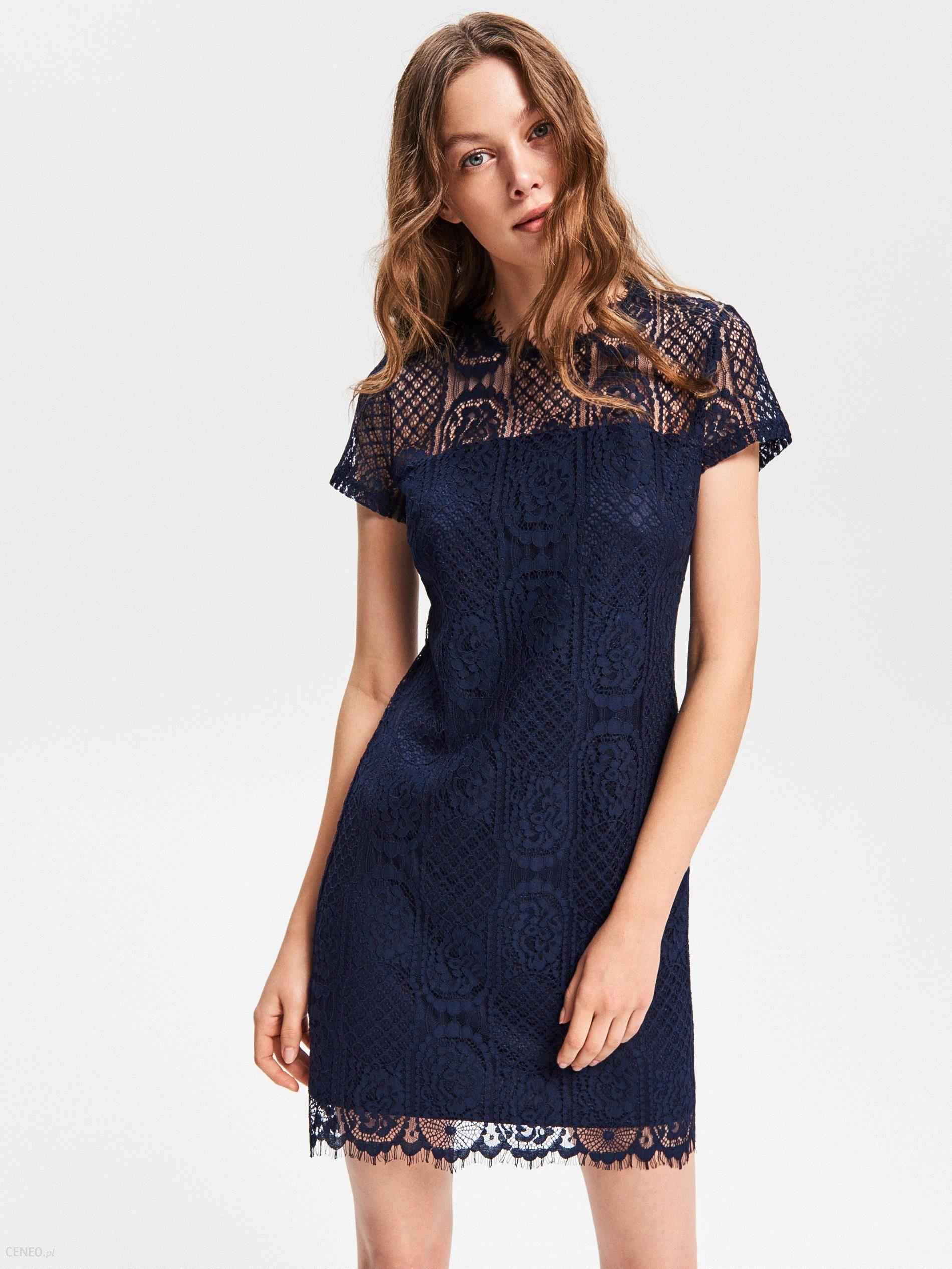6150c878 Reserved - Koronkowa sukienka - Granatowy - Ceny i opinie - Ceneo.pl