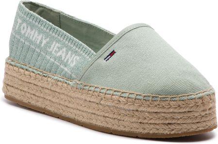 ba1054341ad1d Espadryle TOMMY JEANS - Knit Tommy Jeans Espadrille EN0EN00572 Frosty Green  312 eobuwie