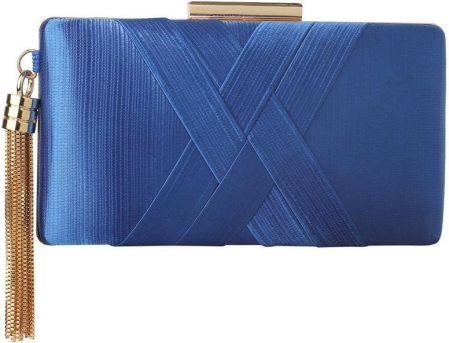 ea1a420cf17c4 Torebka wizytowa satynowa szkatułka kobaltowa - kobaltowy
