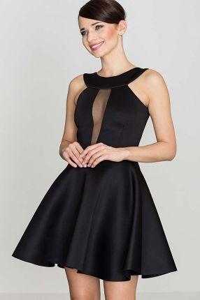 3068bbfef6 Katrus Czarna Efektowna Rozkloszowana Sukienka z Transparentną Wstawką