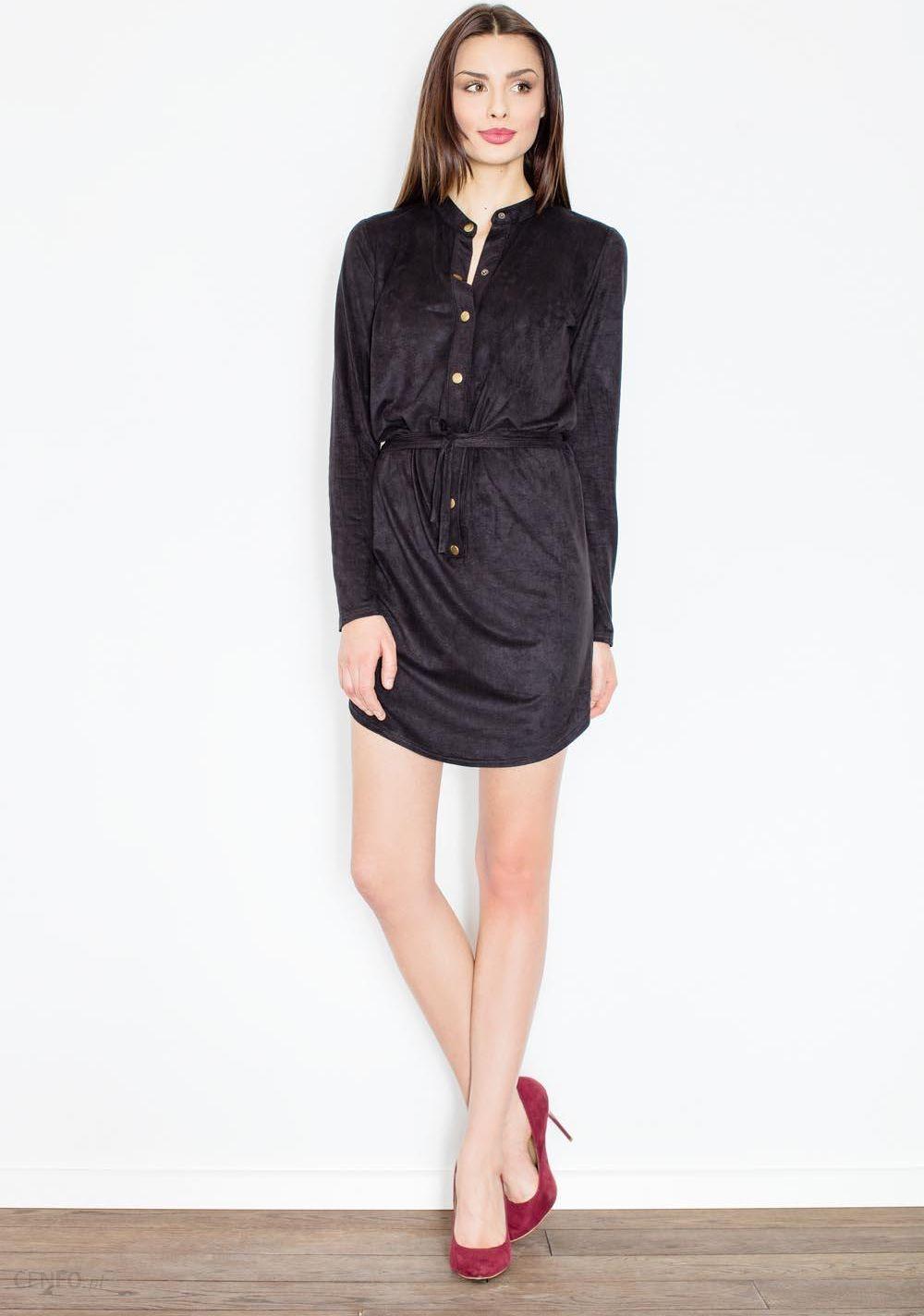 89e07f597a Figl Czarna Sukienka o Koszulowym Kroju Zapinana na Zatrzaski - zdjęcie 1