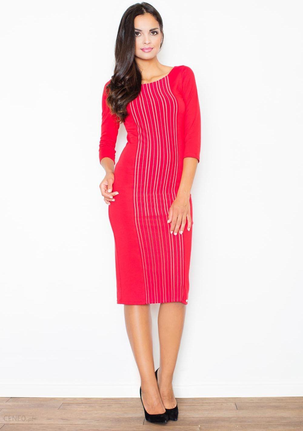 ed9bb29d45 Figl Czerwona Wyjściowa Midi Sukienka z Przeszyciami z Rękawem 3 4 -  zdjęcie 1