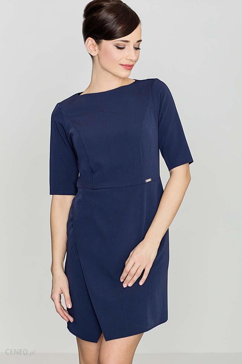 cd3bb393701c72 Katrus Niebieska Elegancka Sukienka z Asymetrycznym Rozporkiem - zdjęcie 1