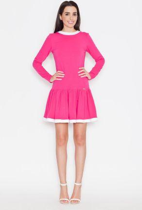 f6aa8ba692 Katrus Różowa Codzienna Sukienka z Falbanką z Długim Rękawem