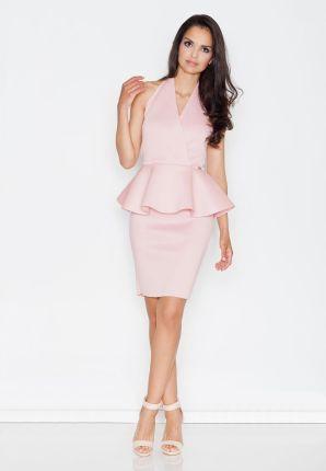 1e9fd7ea45 Figl Różowa Koktajlowa Sukienka z Kopertowym Dekoltem z Baskinką