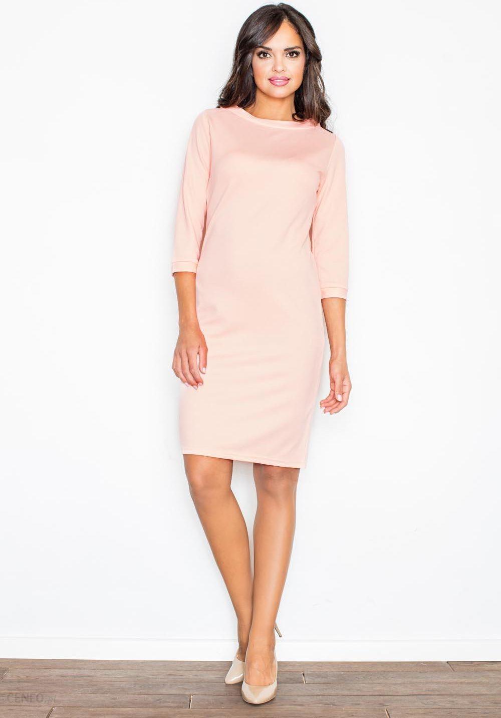 54e70e2d1c Figl Różowa Koktajlowa Sukienka z Rękawem 3 4 - Ceny i opinie - Ceneo.pl