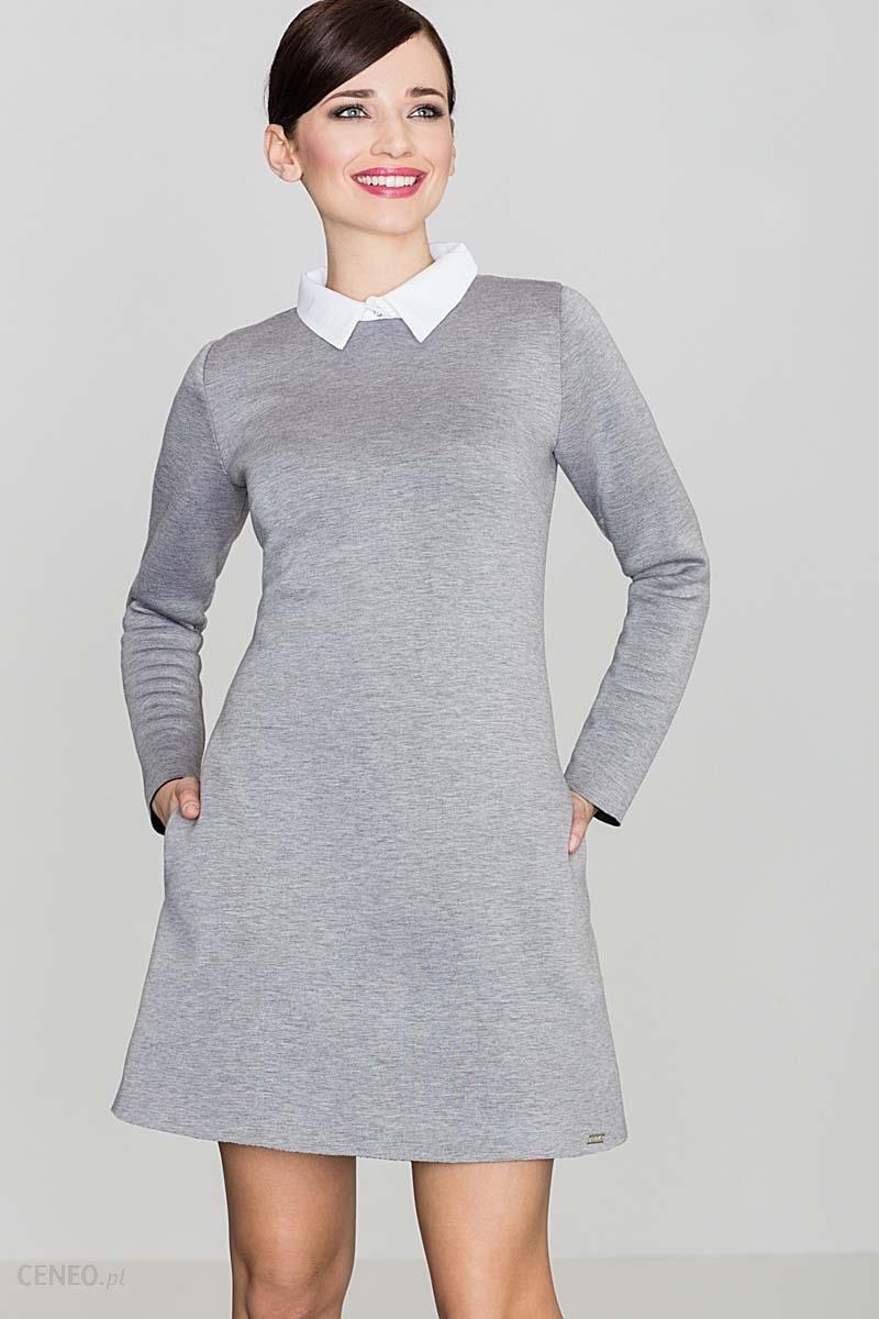 afb885901c Katrus Szara Elegancka Trapezowa Sukienka z Białym Koszulowym Kołnierzykiem  - zdjęcie 1