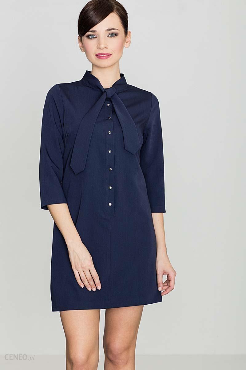 4627f2c8be8d50 Katrus Uniwersalna Granatowa Koszulowa Sukienka z Wiązaną pod Szyją Szarfą  - zdjęcie 1