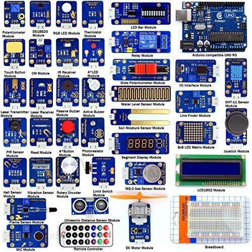 Amazon Sprytne Adeept Czujniki Zestaw Do Arduino Uno R3 Mega2560 Nano Z 42 Modułów Czujniki Zestaw Startowy Do Arduino Z Podręcznik W Formie Pliku Pd