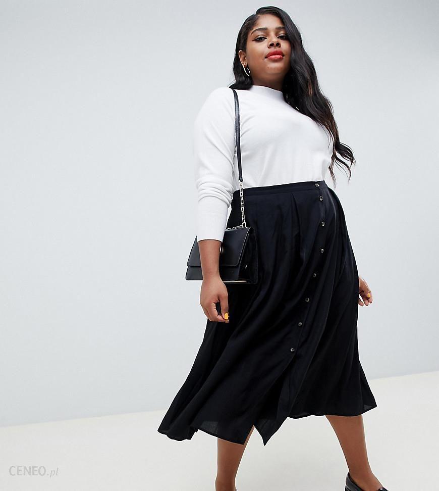 bbf4ef600ba5 ASOS DESIGN Curve button front floaty midi skirt with box pleats - Black -  zdjęcie 1