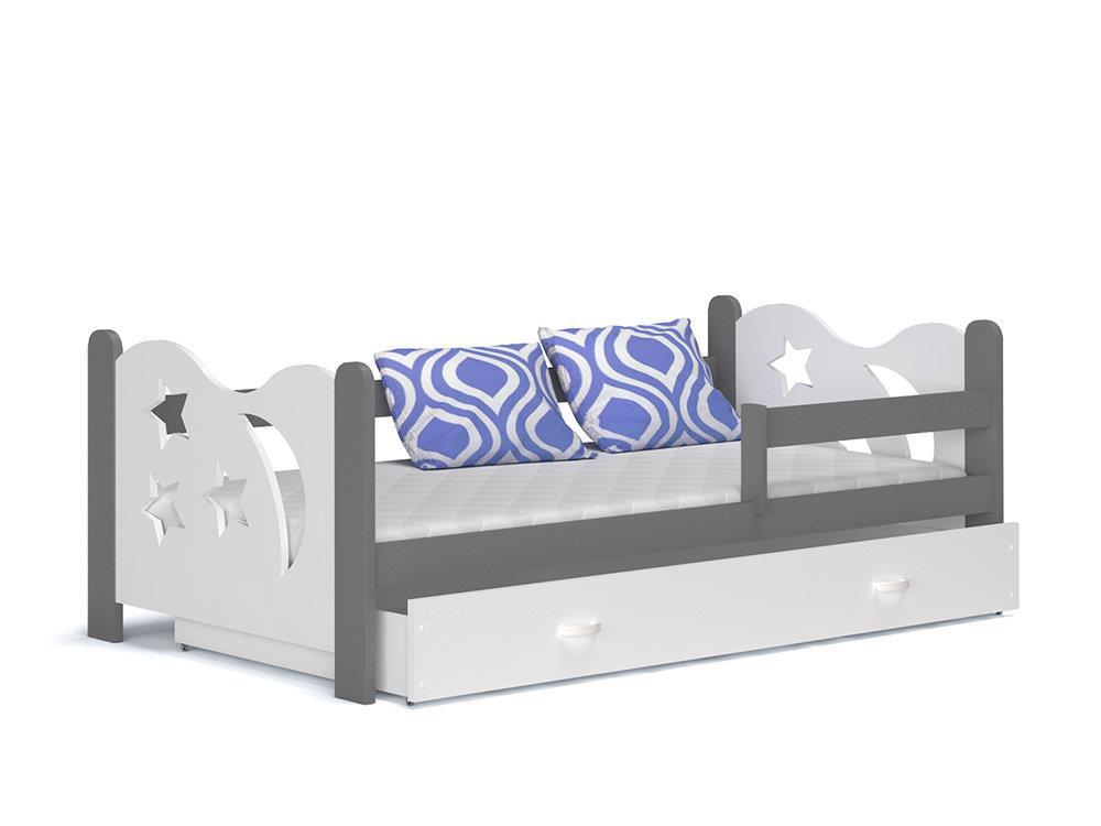 meble dla dzieci spokojnesny Łóżko dziecięce mikołaj szary biały 86x191cm