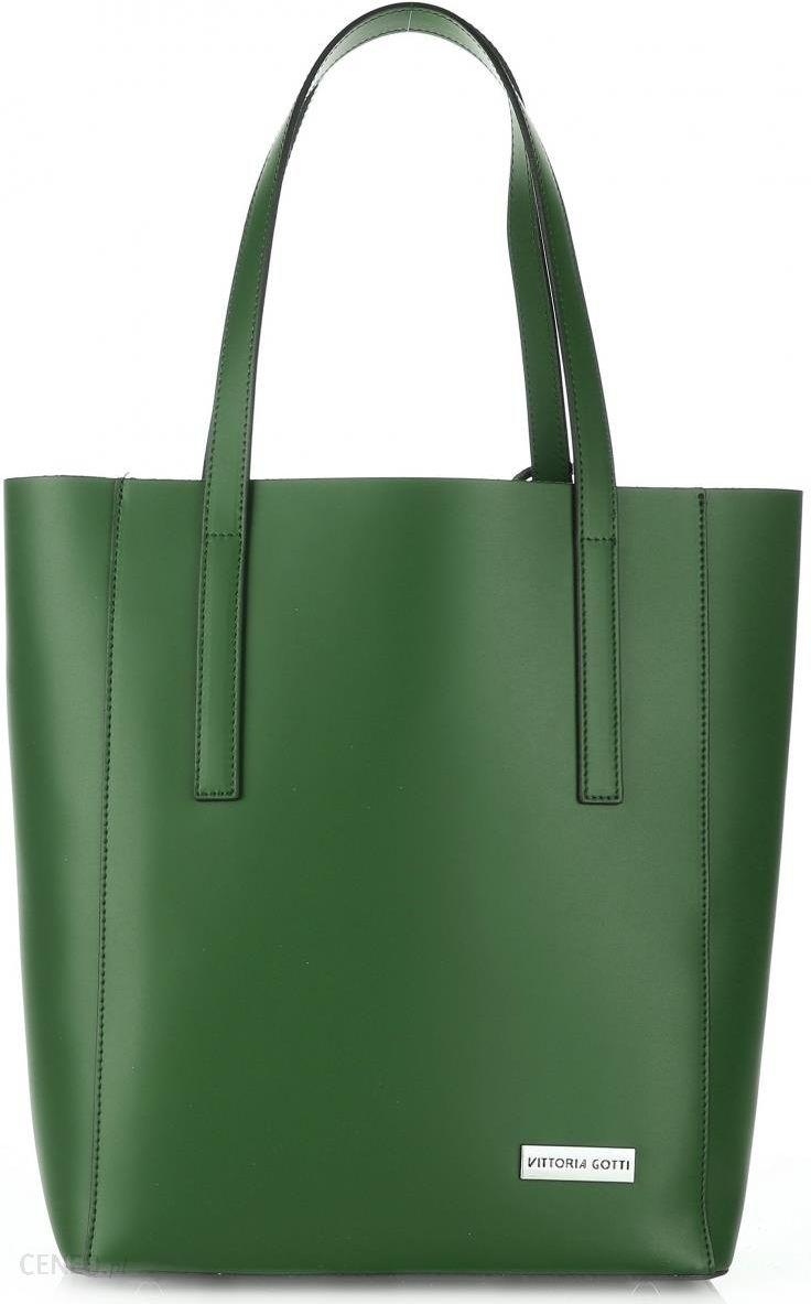 42237efdffee2 Eleganckie Torebki Skórzane ShopperBag włoskiej marki Vittoria Gotti Zielone  (kolory) - zdjęcie 1